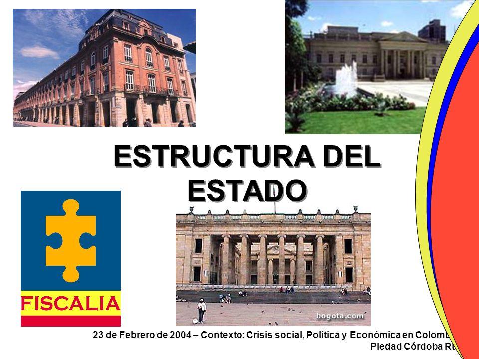 23 de Febrero de 2004 – Contexto: Crisis social, Política y Económica en Colombia Piedad Córdoba Ruíz ESTRUCTURA DEL ESTADO
