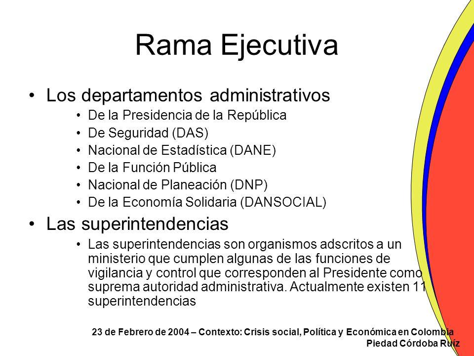 23 de Febrero de 2004 – Contexto: Crisis social, Política y Económica en Colombia Piedad Córdoba Ruíz Rama Ejecutiva Los departamentos administrativos