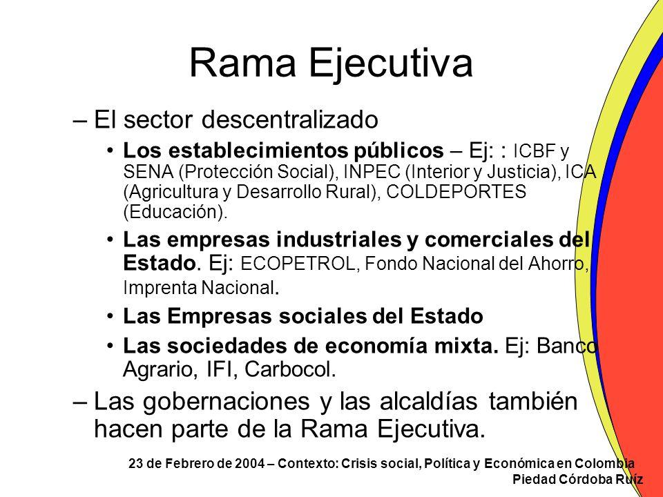 23 de Febrero de 2004 – Contexto: Crisis social, Política y Económica en Colombia Piedad Córdoba Ruíz Rama Ejecutiva –El sector descentralizado Los es