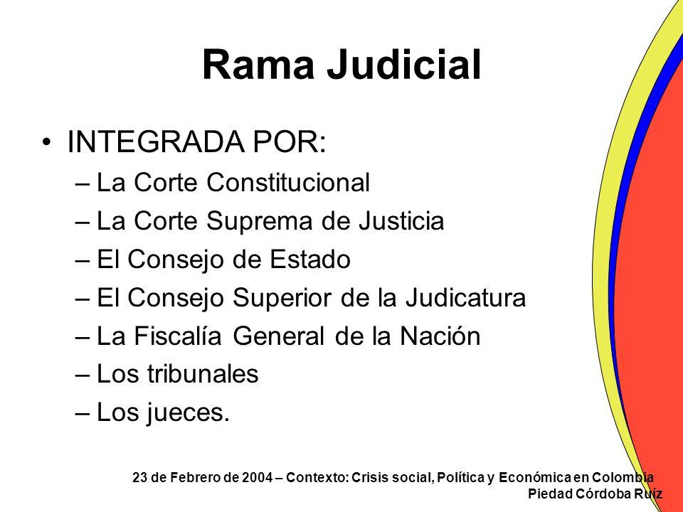 23 de Febrero de 2004 – Contexto: Crisis social, Política y Económica en Colombia Piedad Córdoba Ruíz Rama Judicial INTEGRADA POR: –La Corte Constituc