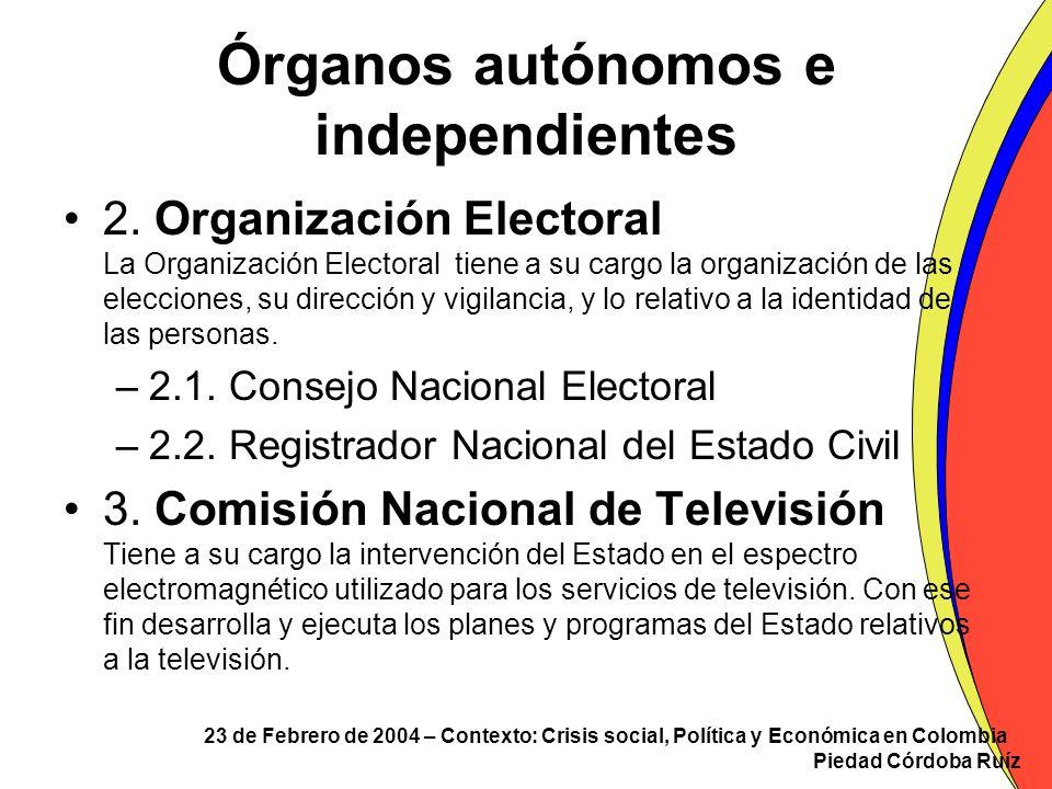 23 de Febrero de 2004 – Contexto: Crisis social, Política y Económica en Colombia Piedad Córdoba Ruíz Órganos autónomos e independientes 2. Organizaci