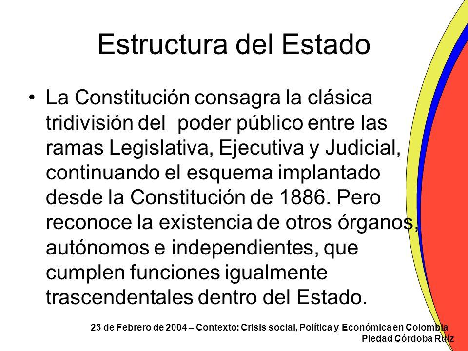 23 de Febrero de 2004 – Contexto: Crisis social, Política y Económica en Colombia Piedad Córdoba Ruíz Rama Judicial INTEGRADA POR: –La Corte Constitucional –La Corte Suprema de Justicia –El Consejo de Estado –El Consejo Superior de la Judicatura –La Fiscalía General de la Nación –Los tribunales –Los jueces.