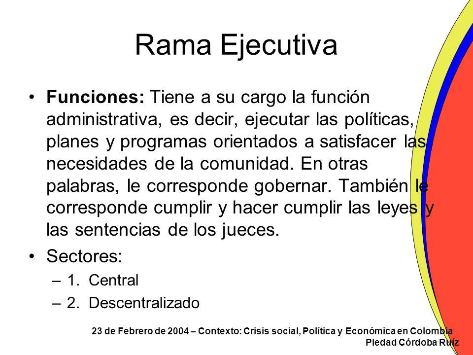 23 de Febrero de 2004 – Contexto: Crisis social, Política y Económica en Colombia Piedad Córdoba Ruíz Rama Ejecutiva El sector central está conformado por: –La Presidencia y la Vicepresidencia de la República El Presidente es el Jefe de Estado, Jefe de Gobierno y suprema autoridad administrativa.