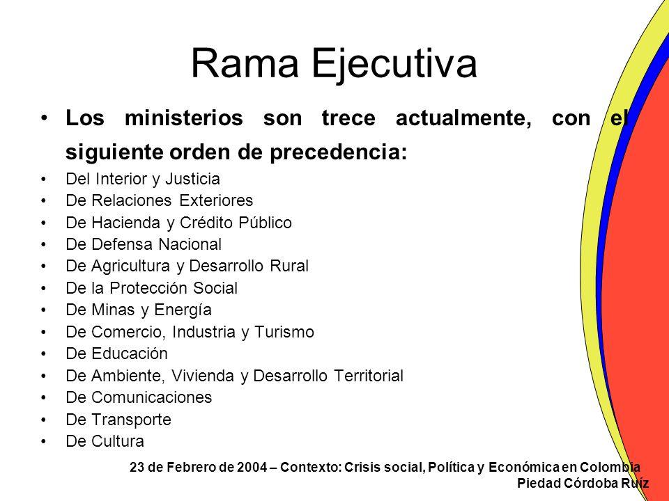 23 de Febrero de 2004 – Contexto: Crisis social, Política y Económica en Colombia Piedad Córdoba Ruíz Rama Ejecutiva Los ministerios son trece actualm