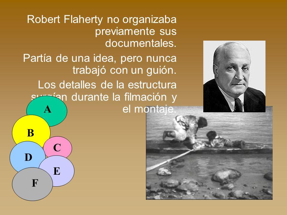 Robert Flaherty no organizaba previamente sus documentales. Partía de una idea, pero nunca trabajó con un guión. Los detalles de la estructura surgían