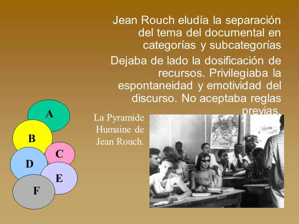 Jean Rouch eludía la separación del tema del documental en categorías y subcategorías Dejaba de lado la dosificación de recursos. Privilegiaba la espo