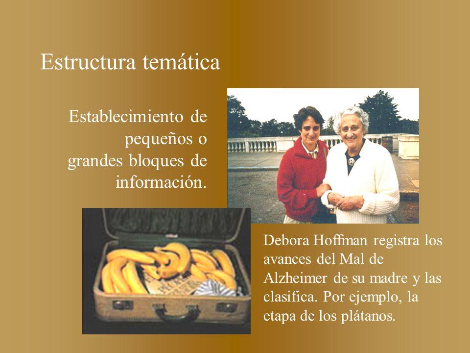 Estructura temática Establecimiento de pequeños o grandes bloques de información. Debora Hoffman registra los avances del Mal de Alzheimer de su madre
