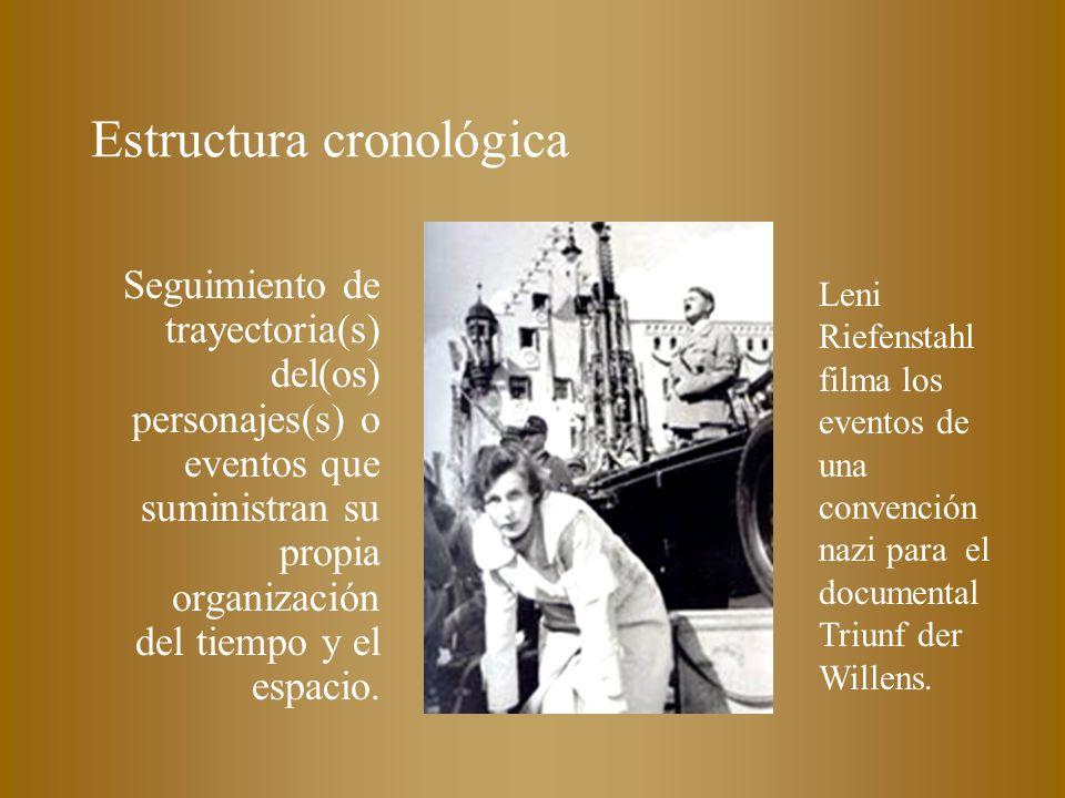 Estructura cronológica Seguimiento de trayectoria(s) del(os) personajes(s) o eventos que suministran su propia organización del tiempo y el espacio. L