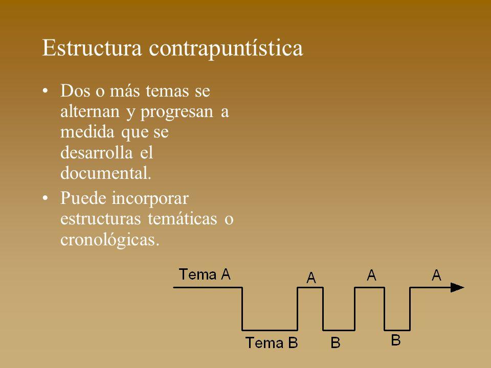 Estructura contrapuntística Dos o más temas se alternan y progresan a medida que se desarrolla el documental. Puede incorporar estructuras temáticas o
