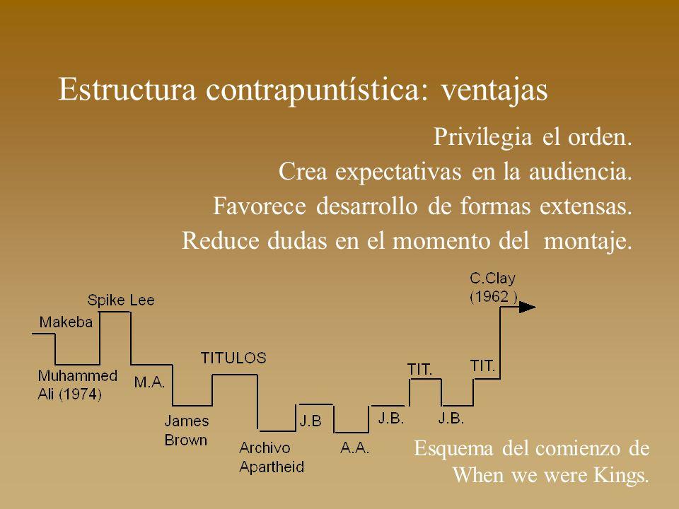Estructura contrapuntística: ventajas Privilegia el orden. Crea expectativas en la audiencia. Favorece desarrollo de formas extensas. Reduce dudas en
