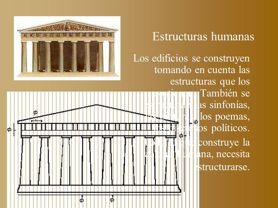 Estructuras humanas Los edificios se construyen tomando en cuenta las estructuras que los sostienen. También se estructuran las sinfonías, las pintura