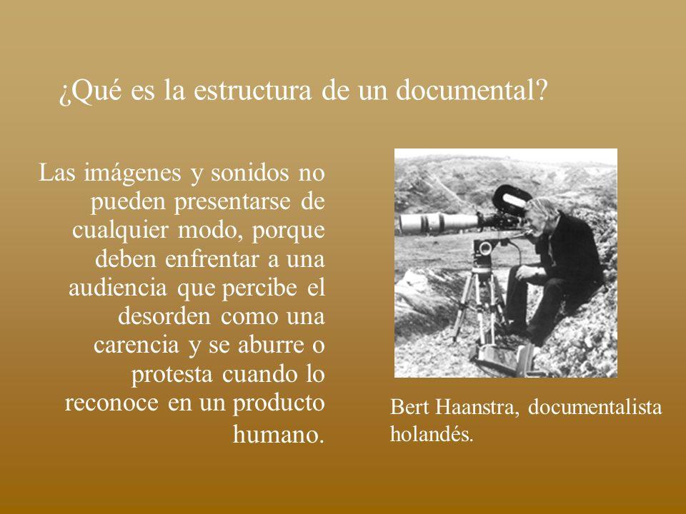¿Qué es la estructura de un documental? Las imágenes y sonidos no pueden presentarse de cualquier modo, porque deben enfrentar a una audiencia que per
