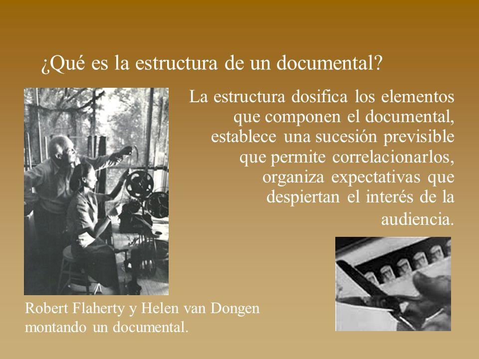 ¿Qué es la estructura de un documental? La estructura dosifica los elementos que componen el documental, establece una sucesión previsible que permite