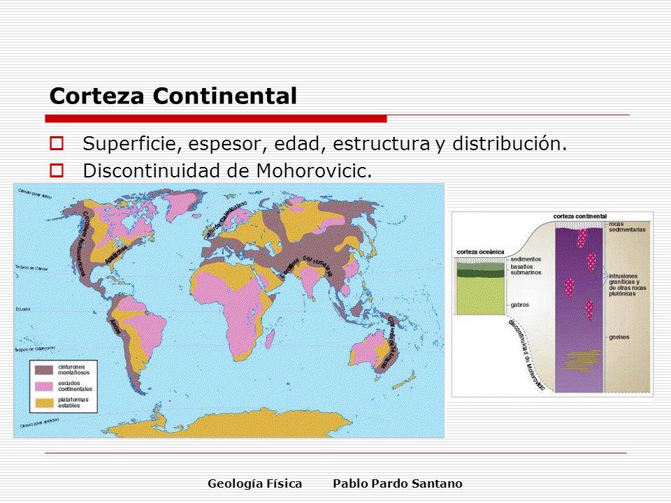 Geología Física Pablo Pardo Santano Corteza Continental Superficie, espesor, edad, estructura y distribución. Discontinuidad de Mohorovicic.