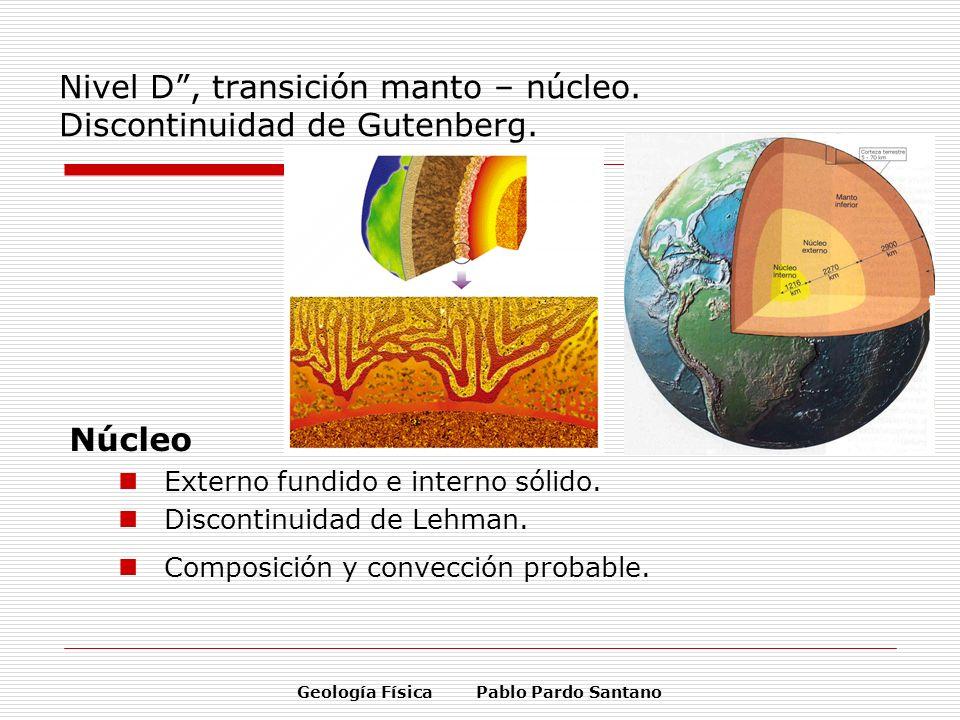 Geología Física Pablo Pardo Santano Nivel D, transición manto – núcleo. Discontinuidad de Gutenberg. Núcleo Externo fundido e interno sólido. Disconti
