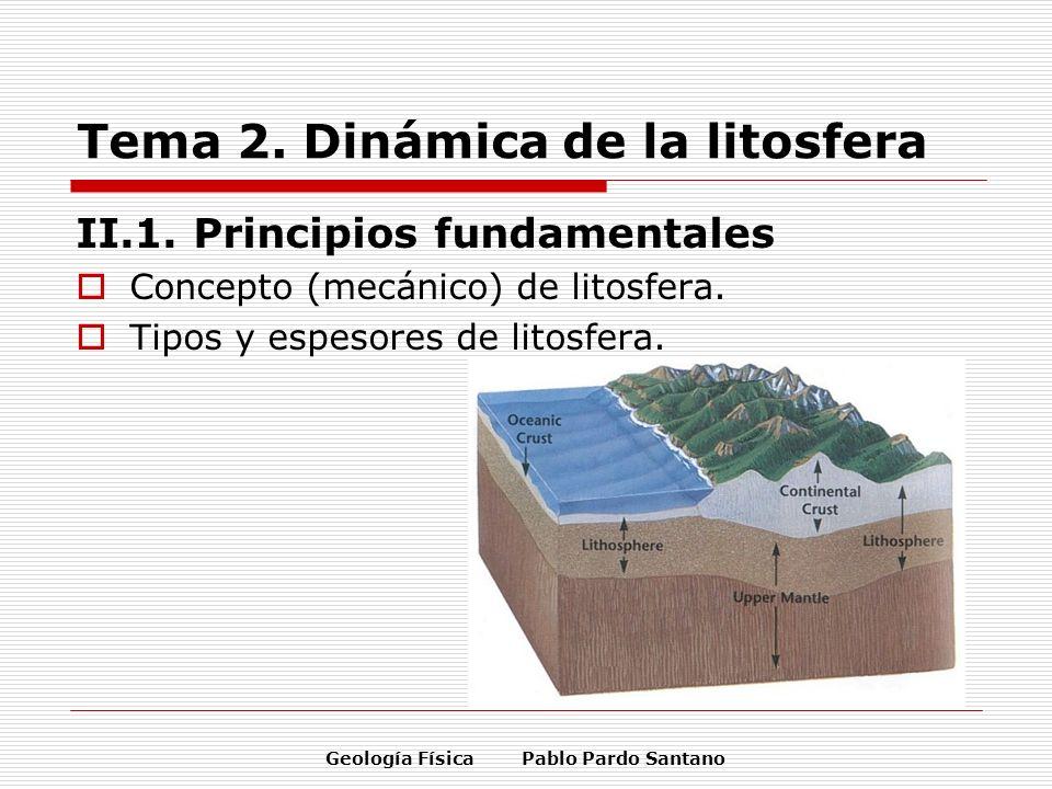 Geología Física Pablo Pardo Santano Tema 2. Dinámica de la litosfera II.1. Principios fundamentales Concepto (mecánico) de litosfera. Tipos y espesore