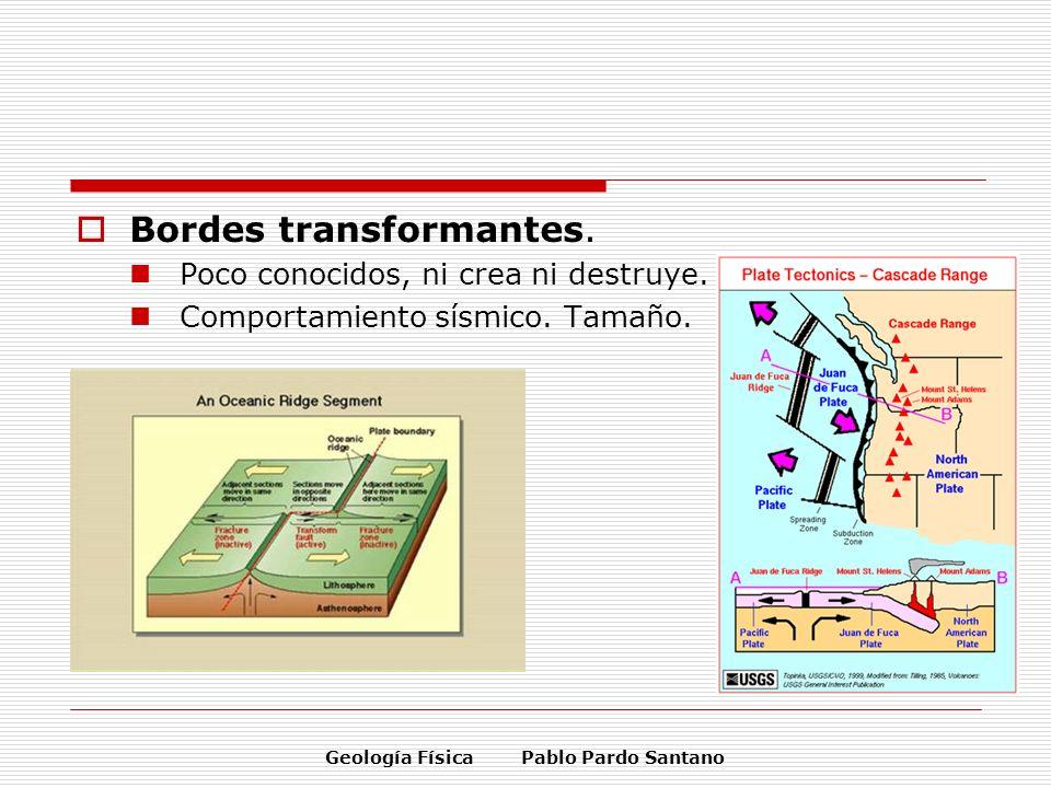 Geología Física Pablo Pardo Santano Bordes transformantes. Poco conocidos, ni crea ni destruye. Comportamiento sísmico. Tamaño.