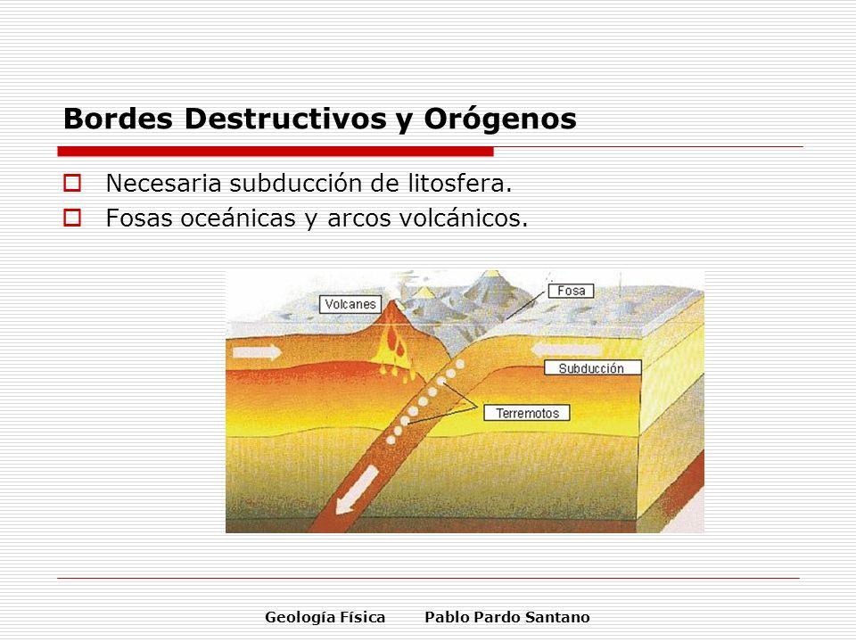 Geología Física Pablo Pardo Santano Bordes Destructivos y Orógenos Necesaria subducción de litosfera. Fosas oceánicas y arcos volcánicos.