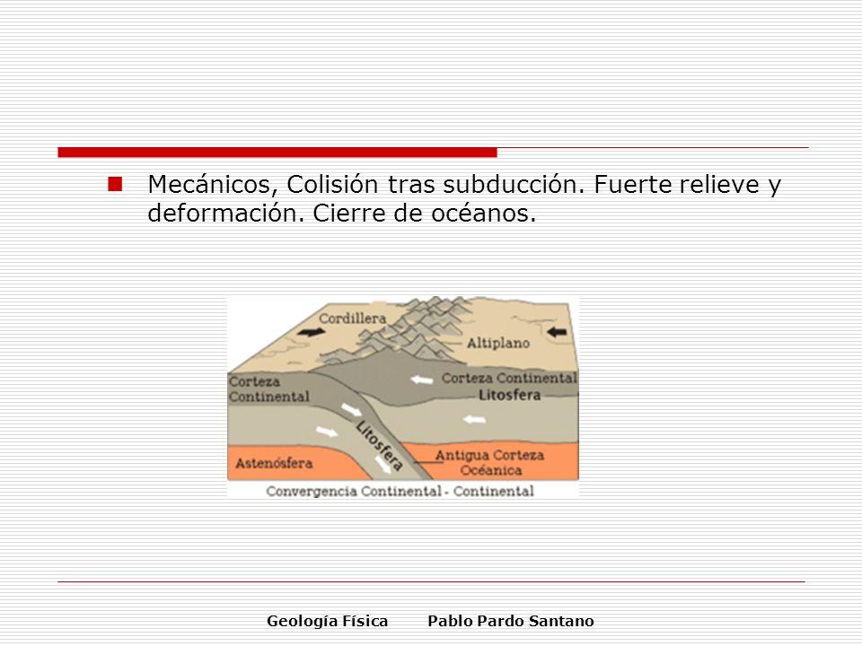 Geología Física Pablo Pardo Santano Mecánicos, Colisión tras subducción. Fuerte relieve y deformación. Cierre de océanos.