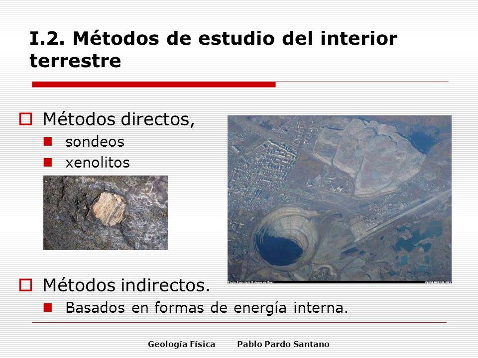 Geología Física Pablo Pardo Santano I.2. Métodos de estudio del interior terrestre Métodos directos, sondeos xenolitos Métodos indirectos. Basados en