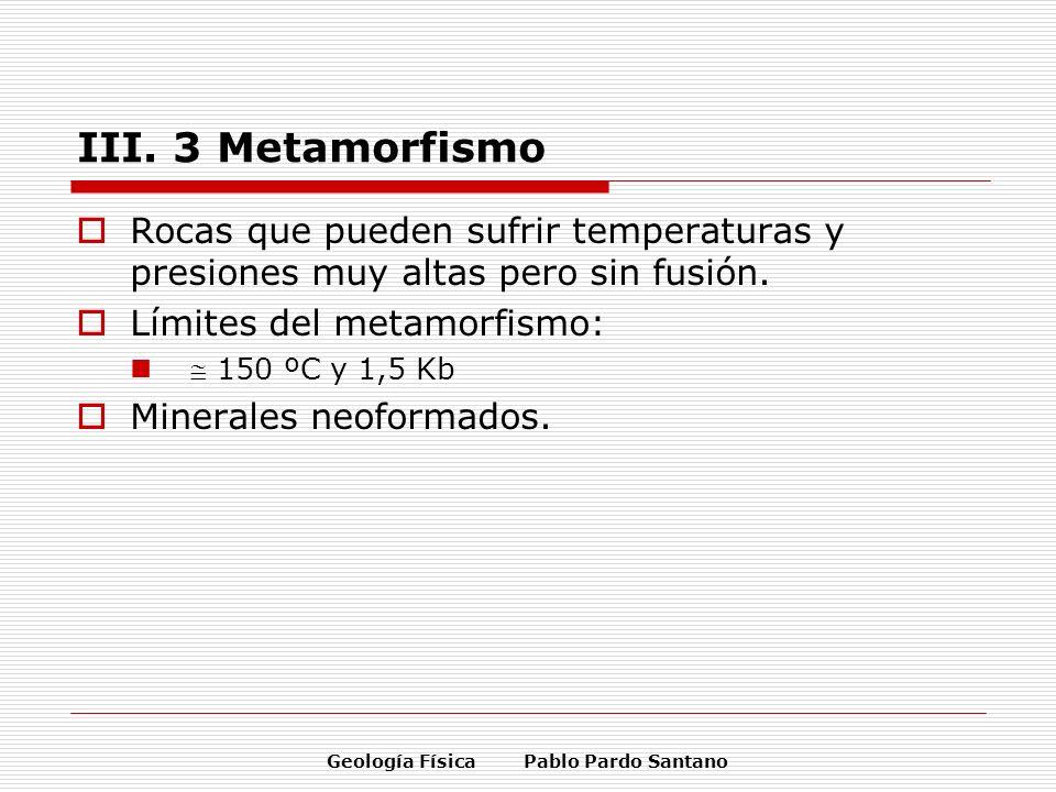Geología Física Pablo Pardo Santano III. 3 Metamorfismo Rocas que pueden sufrir temperaturas y presiones muy altas pero sin fusión. Límites del metamo