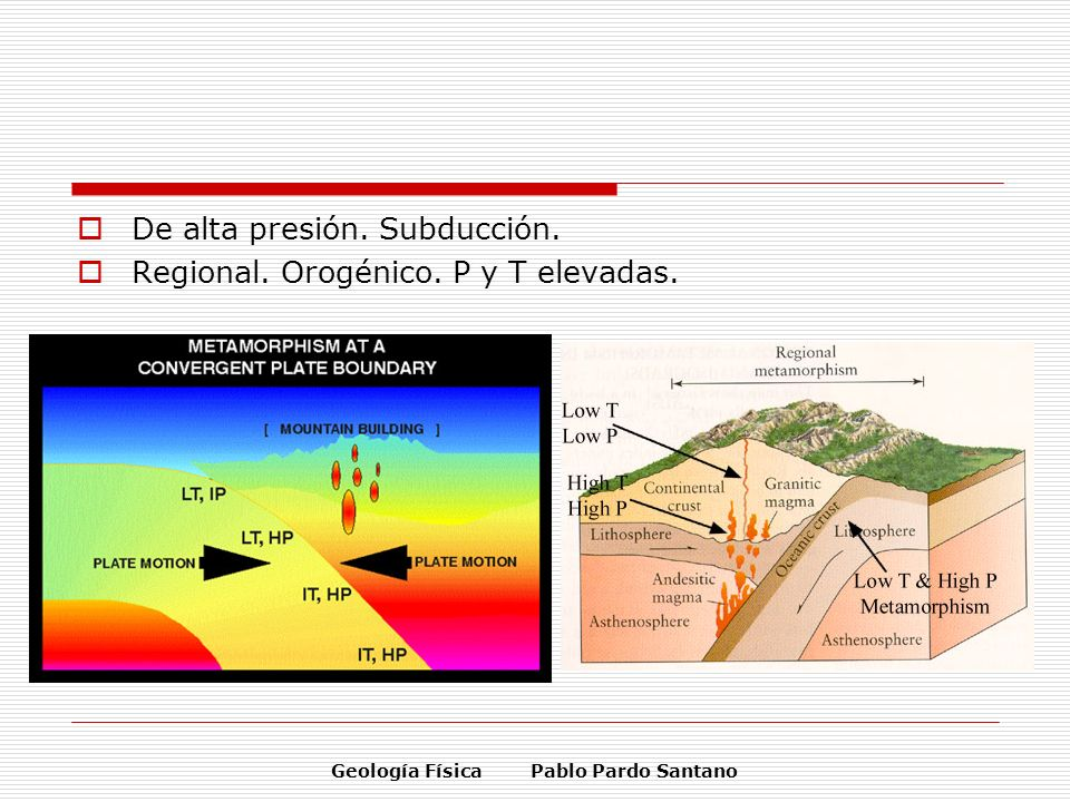 Geología Física Pablo Pardo Santano De alta presión. Subducción. Regional. Orogénico. P y T elevadas.