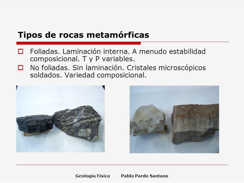 Geología Física Pablo Pardo Santano Tipos de rocas metamórficas Foliadas. Laminación interna. A menudo estabilidad composicional. T y P variables. No