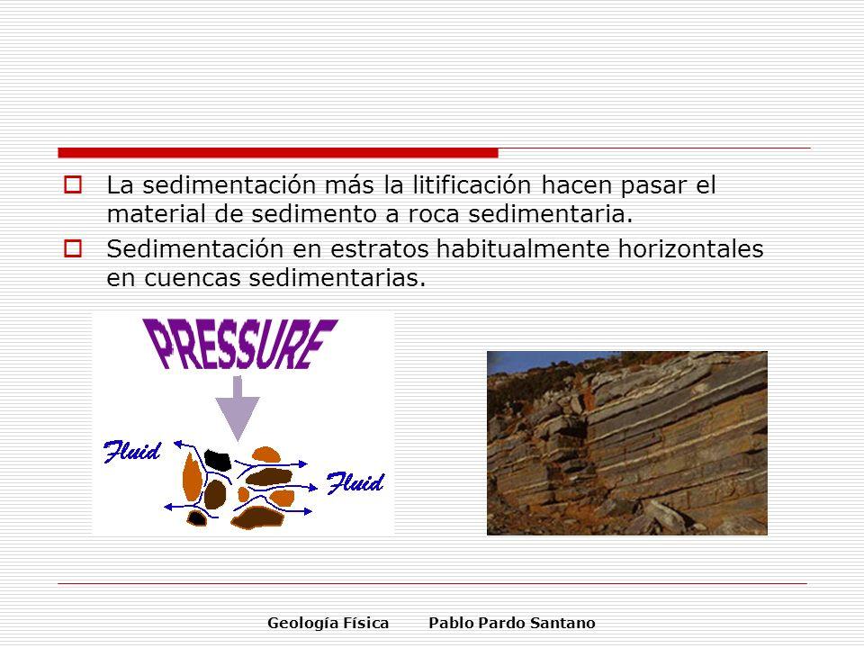 Geología Física Pablo Pardo Santano La sedimentación más la litificación hacen pasar el material de sedimento a roca sedimentaria. Sedimentación en es