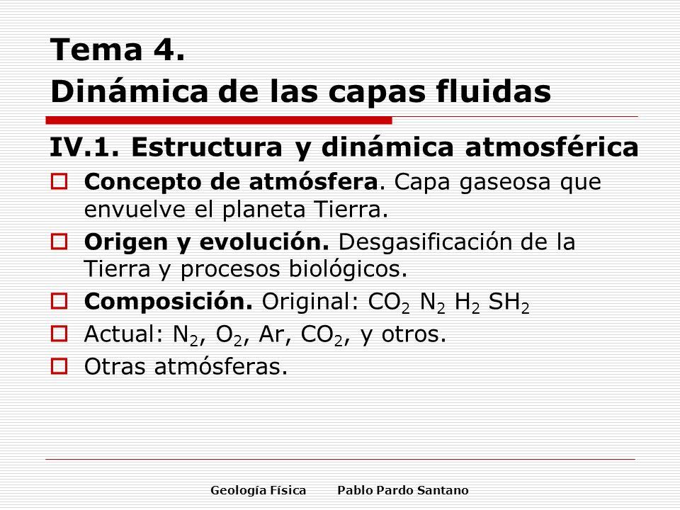Geología Física Pablo Pardo Santano Tema 4. Dinámica de las capas fluidas IV.1. Estructura y dinámica atmosférica Concepto de atmósfera. Capa gaseosa