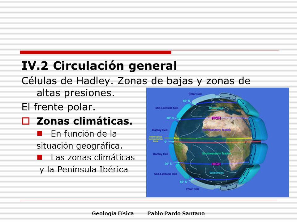 IV.2 Circulación general Células de Hadley. Zonas de bajas y zonas de altas presiones. El frente polar. Zonas climáticas. En función de la situación g
