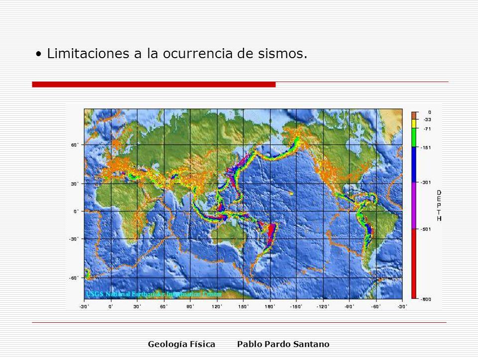 Geología Física Pablo Pardo Santano Limitaciones a la ocurrencia de sismos.