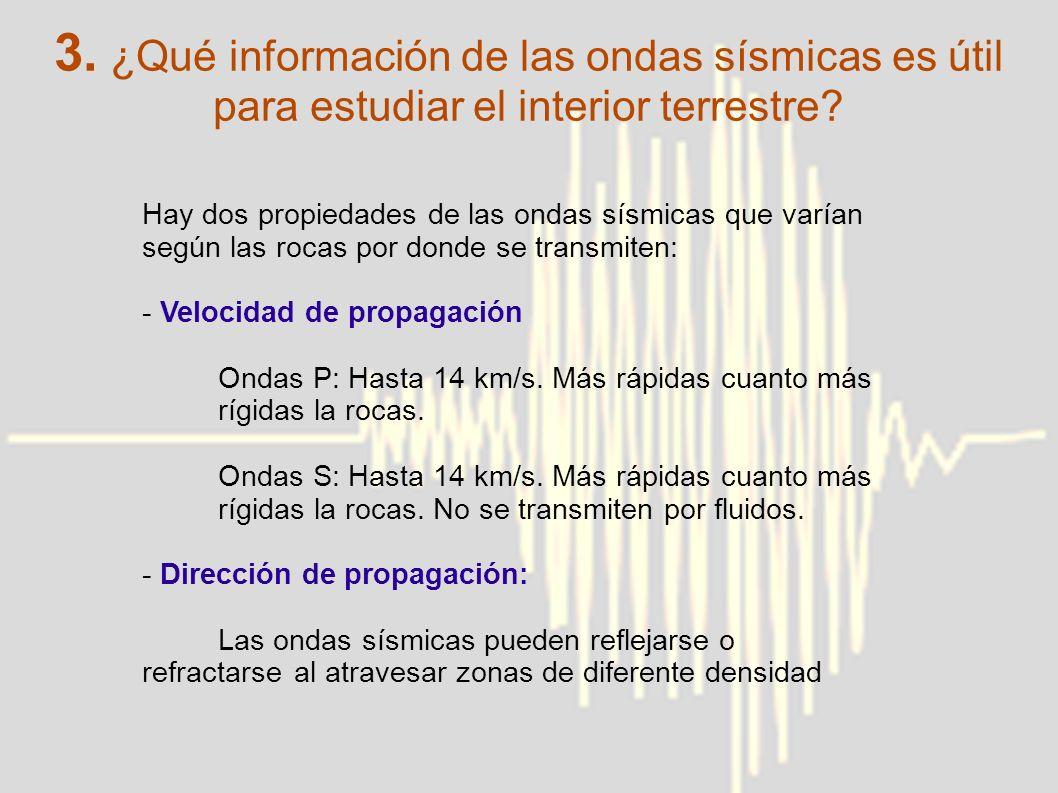 3. ¿Qué información de las ondas sísmicas es útil para estudiar el interior terrestre? Hay dos propiedades de las ondas sísmicas que varían según las