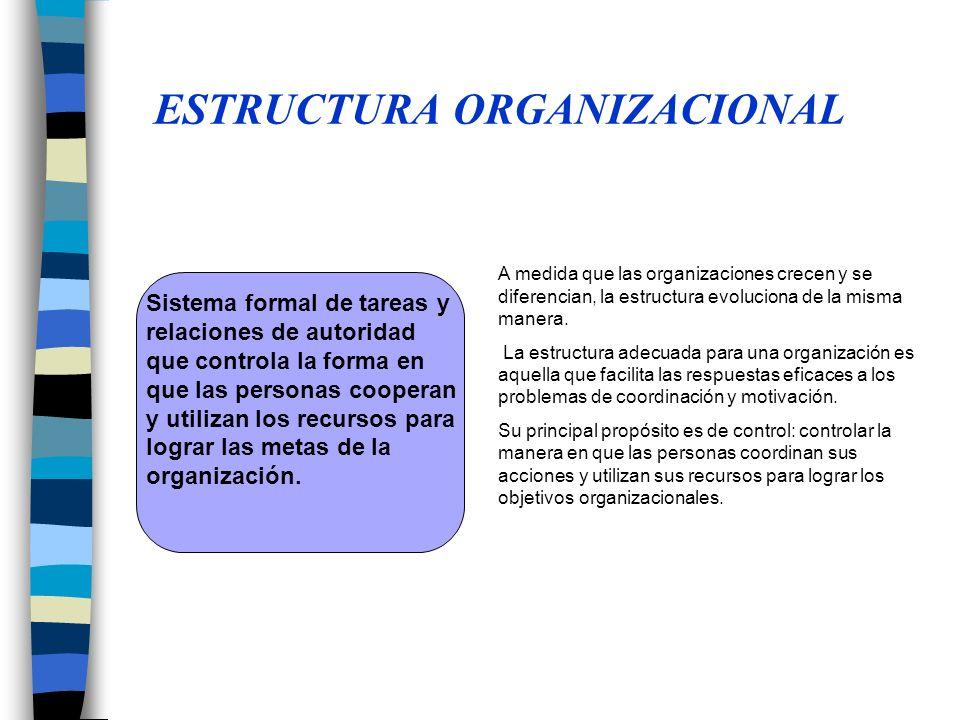 A medida que las organizaciones crecen y se diferencian, la estructura evoluciona de la misma manera.