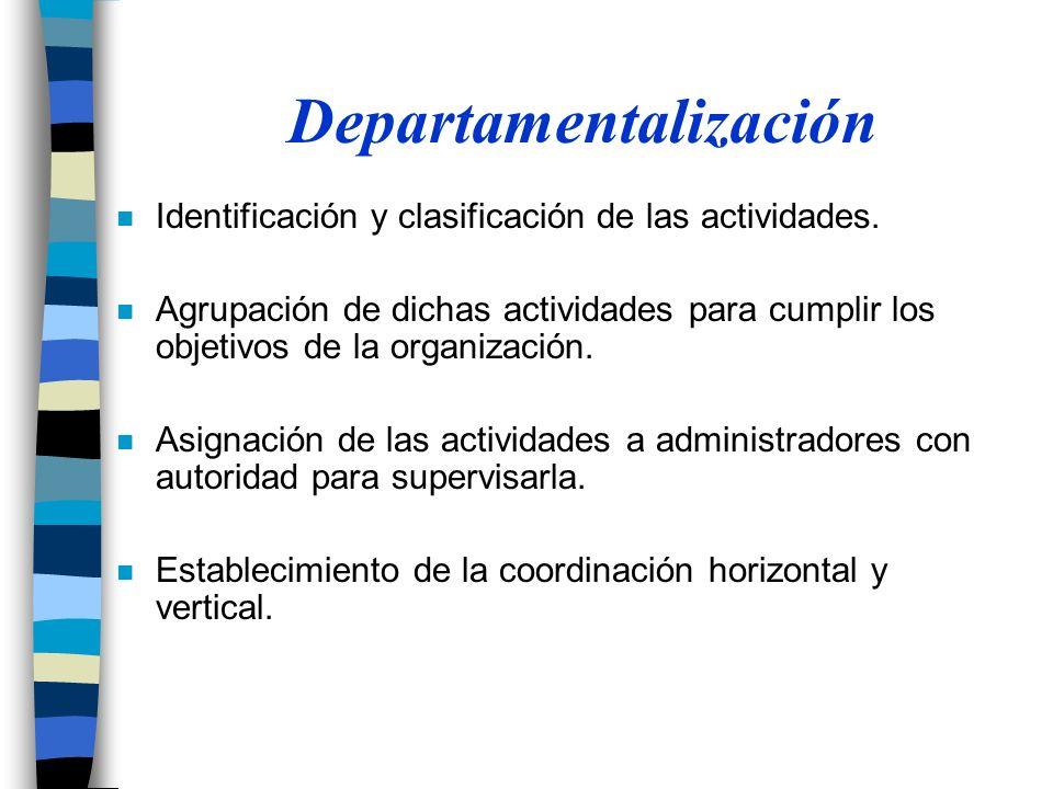 n Identificación y clasificación de las actividades.