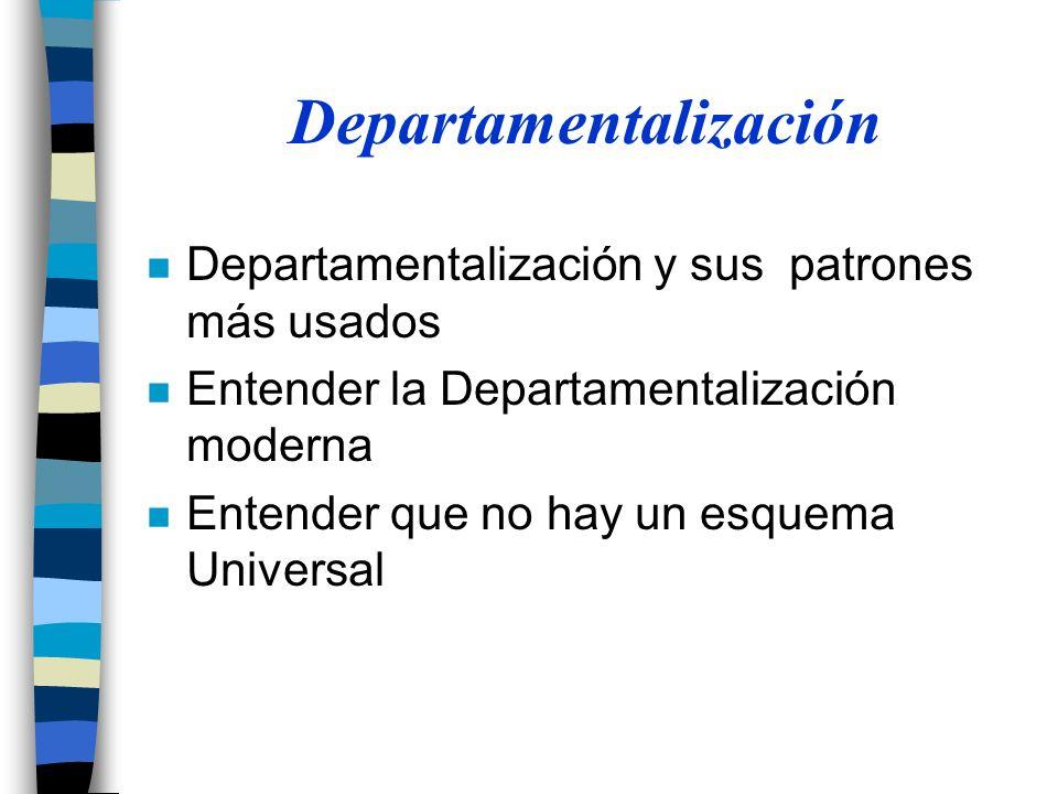 n Departamentalización y sus patrones más usados n Entender la Departamentalización moderna n Entender que no hay un esquema Universal Departamentalización