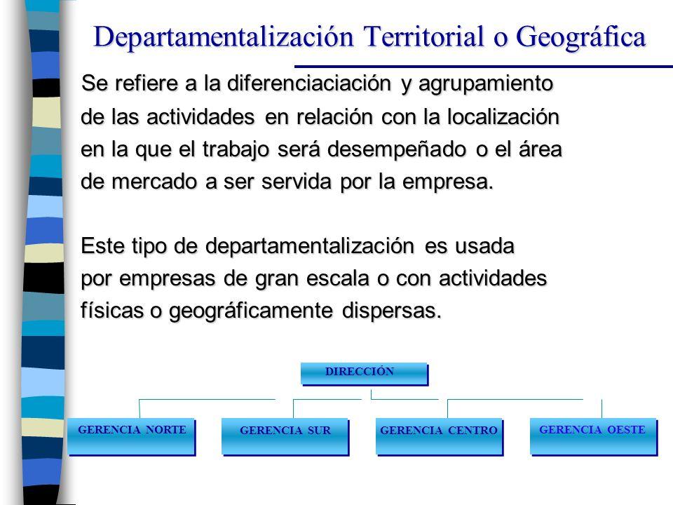 Se refiere a la diferenciaciación y agrupamiento Se refiere a la diferenciaciación y agrupamiento de las actividades en relación con la localización de las actividades en relación con la localización en la que el trabajo será desempeñado o el área en la que el trabajo será desempeñado o el área de mercado a ser servida por la empresa.