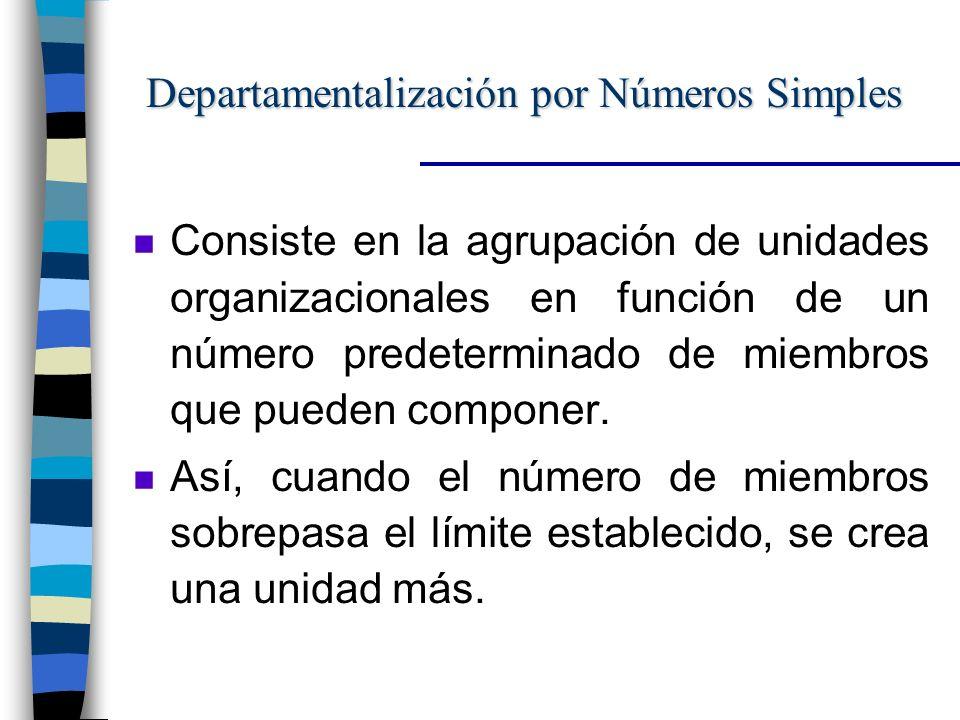 Departamentalización por Números Simples n Consiste en la agrupación de unidades organizacionales en función de un número predeterminado de miembros que pueden componer.