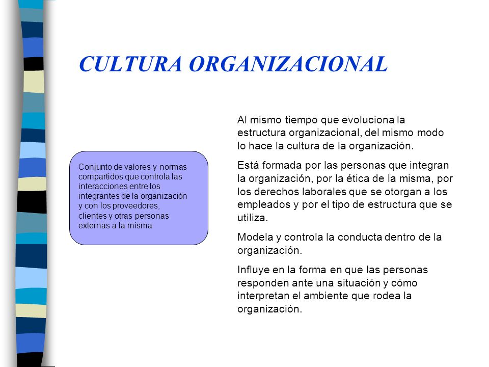 CULTURA ORGANIZACIONAL Conjunto de valores y normas compartidos que controla las interacciones entre los integrantes de la organización y con los proveedores, clientes y otras personas externas a la misma Al mismo tiempo que evoluciona la estructura organizacional, del mismo modo lo hace la cultura de la organización.