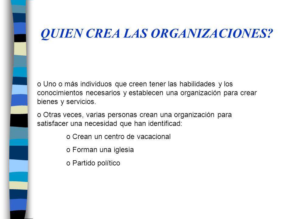 Concepto…organización La organización implica una estructura de funciones o puestos intencional y formalizada.