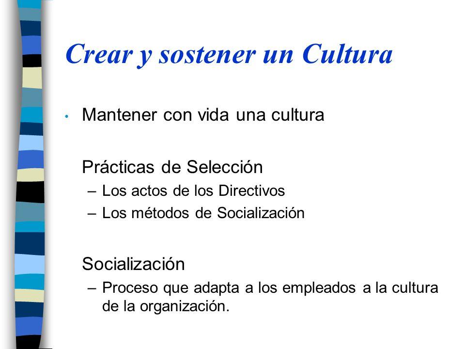 Crear y sostener un Cultura Mantener con vida una cultura Prácticas de Selección –Los actos de los Directivos –Los métodos de Socialización Socialización –Proceso que adapta a los empleados a la cultura de la organización.