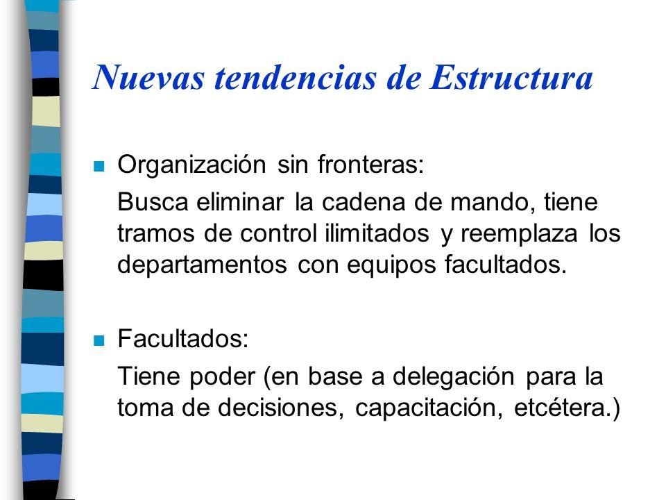 Nuevas tendencias de Estructura n Organización sin fronteras: Busca eliminar la cadena de mando, tiene tramos de control ilimitados y reemplaza los departamentos con equipos facultados.