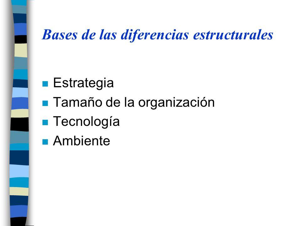 Bases de las diferencias estructurales n Estrategia n Tamaño de la organización n Tecnología n Ambiente