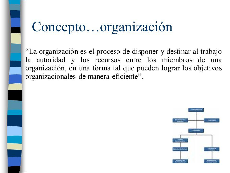 Concepto…organización La organización es el proceso de disponer y destinar al trabajo la autoridad y los recursos entre los miembros de una organización, en una forma tal que pueden lograr los objetivos organizacionales de manera eficiente.