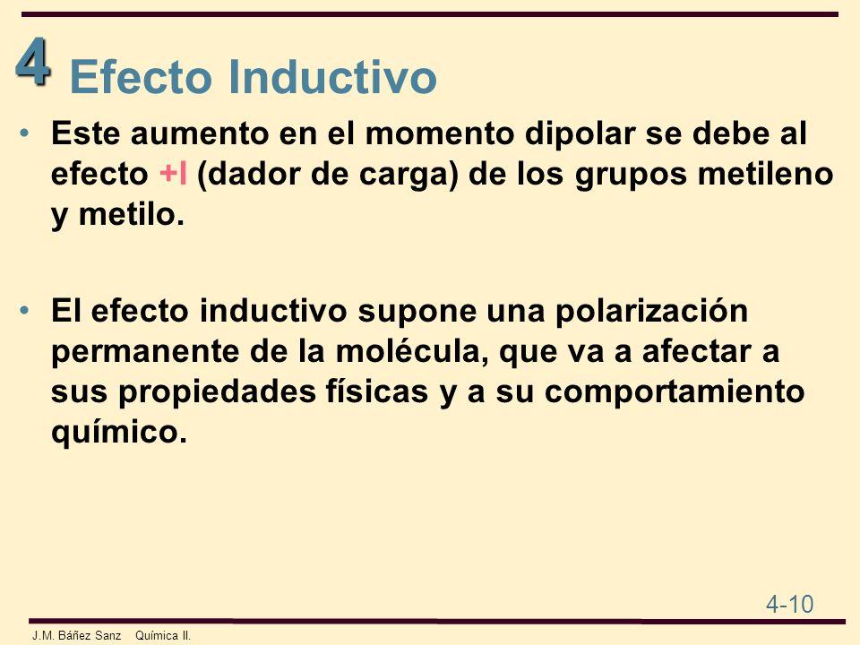 4 4-10 J.M. Báñez Sanz Química II. Este aumento en el momento dipolar se debe al efecto +I (dador de carga) de los grupos metileno y metilo. El efecto
