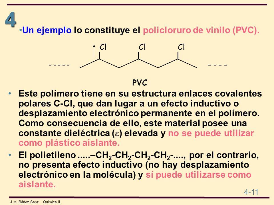 4 4-11 J.M. Báñez Sanz Química II. Este polímero tiene en su estructura enlaces covalentes polares C-Cl, que dan lugar a un efecto inductivo o desplaz
