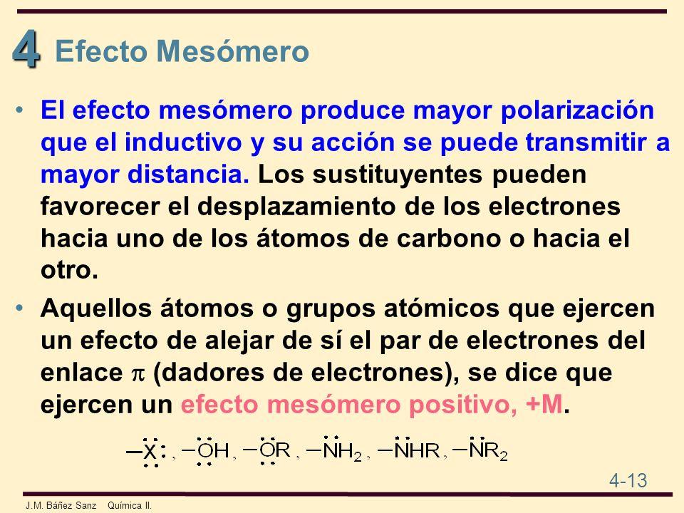 4 4-13 J.M. Báñez Sanz Química II. El efecto mesómero produce mayor polarización que el inductivo y su acción se puede transmitir a mayor distancia. L