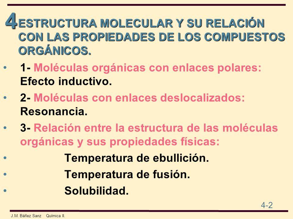 4 4-2 J.M. Báñez Sanz Química II. ESTRUCTURA MOLECULAR Y SU RELACIÓN CON LAS PROPIEDADES DE LOS COMPUESTOS ORGÁNICOS. 1- Moléculas orgánicas con enlac