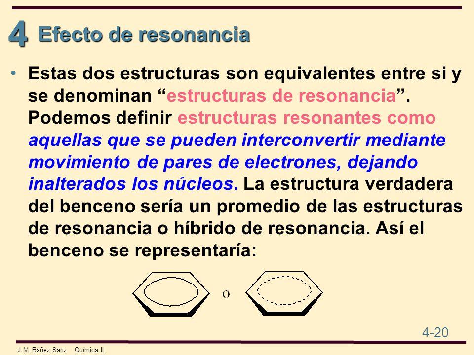 4 4-20 J.M. Báñez Sanz Química II. Estas dos estructuras son equivalentes entre si y se denominan estructuras de resonancia. Podemos definir estructur