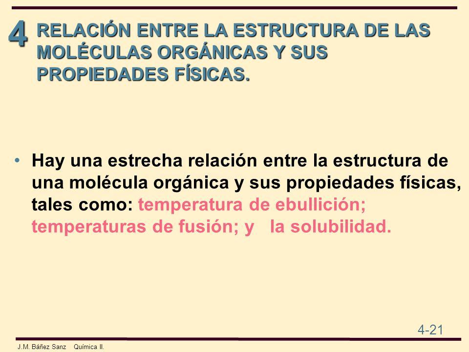 4 4-21 J.M. Báñez Sanz Química II. RELACIÓN ENTRE LA ESTRUCTURA DE LAS MOLÉCULAS ORGÁNICAS Y SUS PROPIEDADES FÍSICAS. Hay una estrecha relación entre