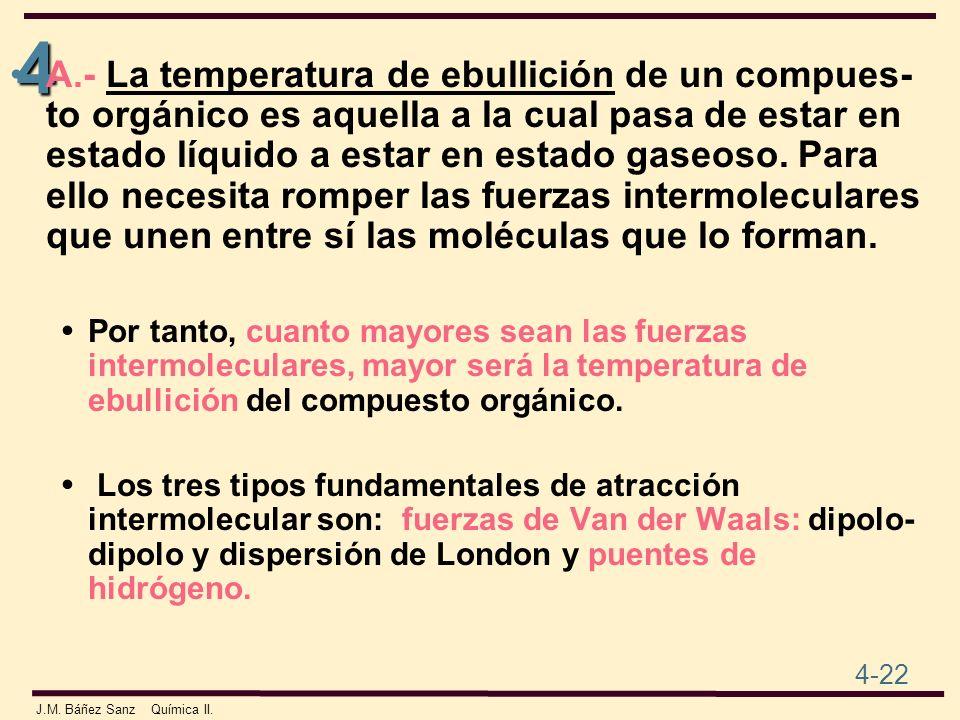 4 4-22 J.M. Báñez Sanz Química II. A.- La temperatura de ebullición de un compues- to orgánico es aquella a la cual pasa de estar en estado líquido a